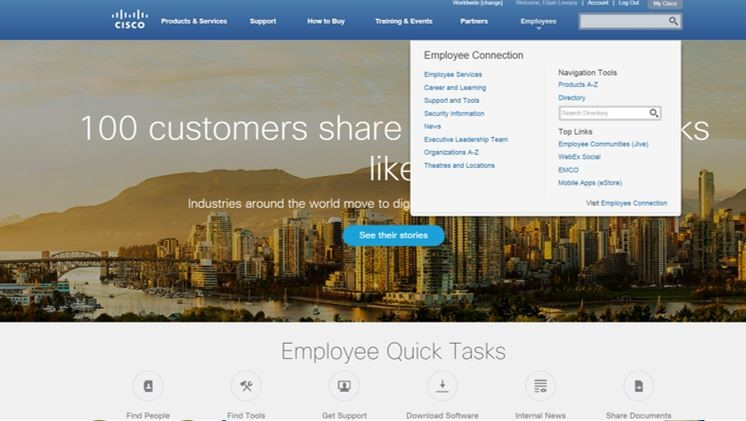 Cisco.com with intranet employee menu