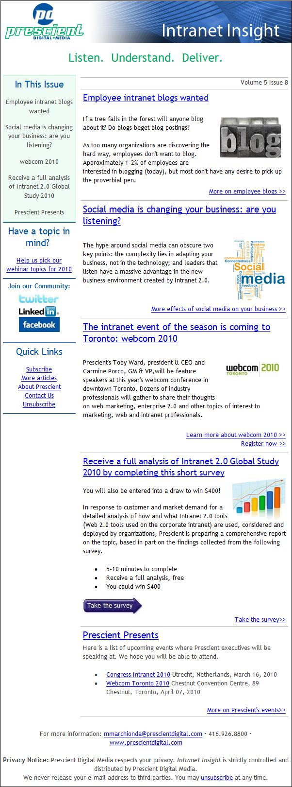 Intranet Insight Volume 5 Issue 8
