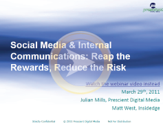 Social media and internal communciations webinar screenshot